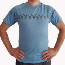 Мужской из шерсти мериноса Мужской Топ вязаный короткий рукав термический базовый слой Джерси синий цвет