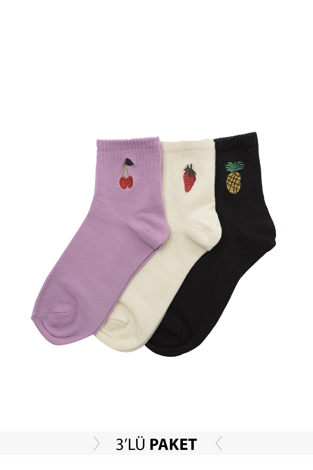 Trendyol 3'lü Embroidered Knit Socks TWOSS20CO0031