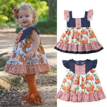 2019 Brand New Cute Newborn Toddler Kids Baby Girls Party Pageant Dress Ruffles Pumpkin Printed Tutu Sundress Set Clothes 6M-5T lovely toddler kids baby girls pumpkin floral dress party short sleeve dress sundress halloween cute clothes summer suit