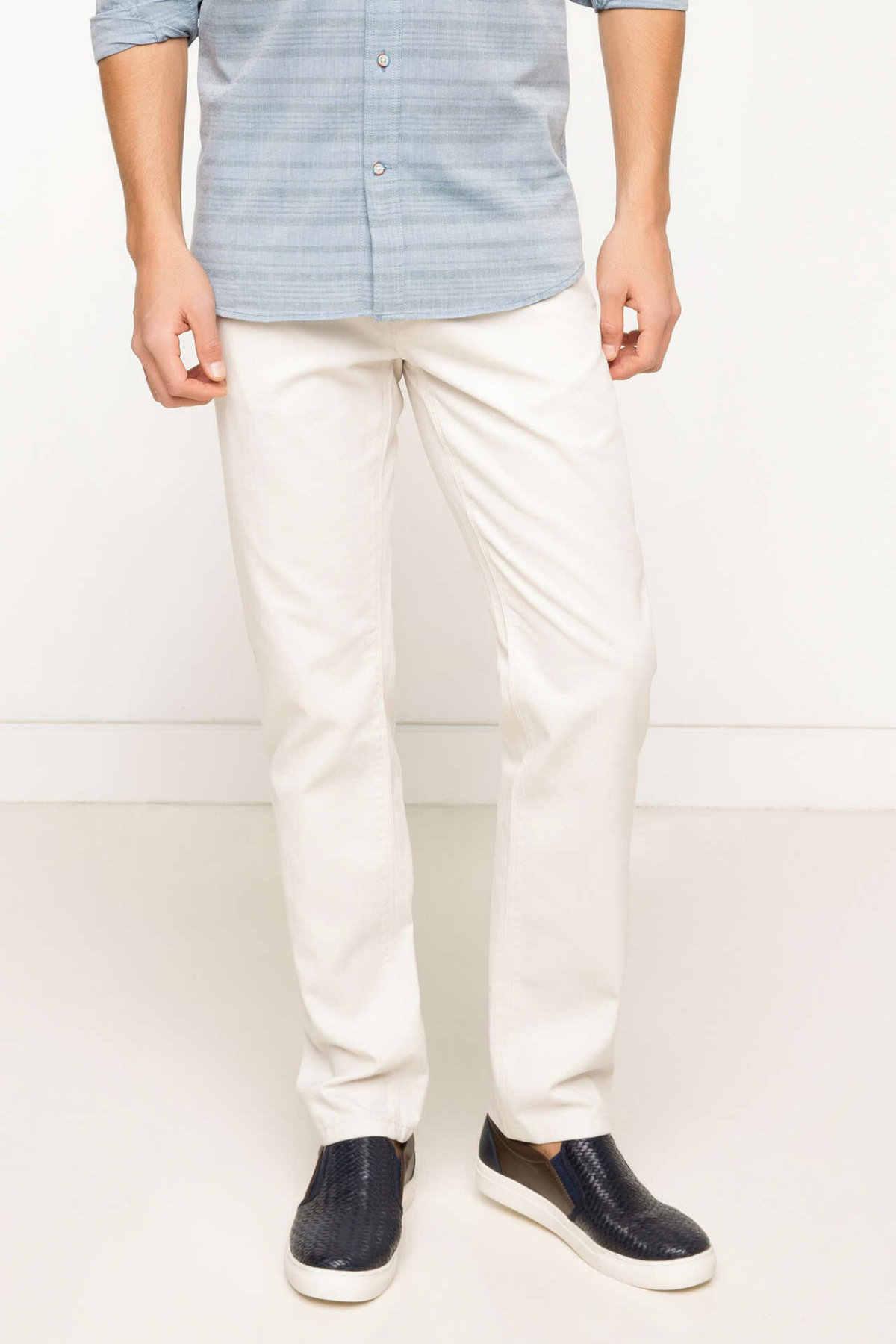 Defacto Man Witte Lange Broek Mannen Lente Cargo Broek Man Mid Taille Bodems Mannen Slim Fit Body Trousers-G6025AZ17SP