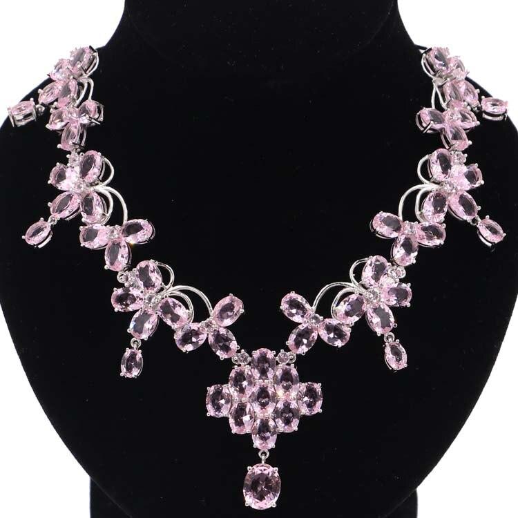 40x28mm grande pesado 44,4g Rosa Kunzite boda mujer Collar de plata 18,5 pulgadas-in Collares from Joyería y accesorios    1