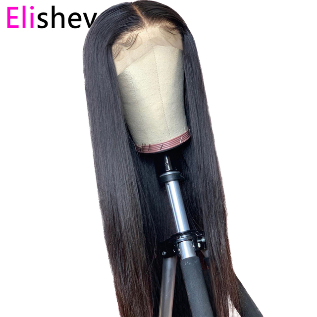 Straight Wig Transparent Lace Front Human Hair Wigs 13x4 Brazilian 150Density Remy Long Natural PrePlucked Glueless Bleach Knots 6