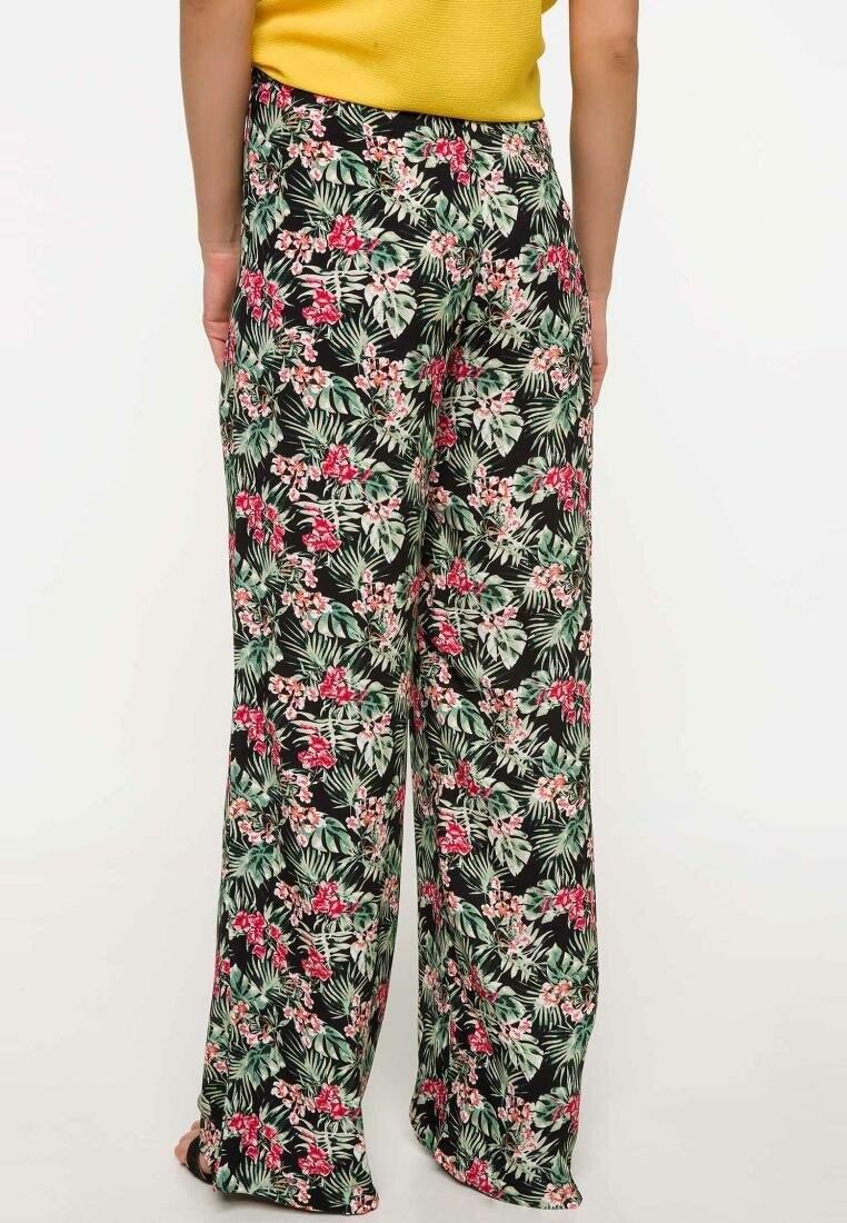 DeFacto Woman Summer Floral Prints Wide-leg Pants Women Casual Loose Bottoms Female Elastic Trousers-J1708AZ18SM