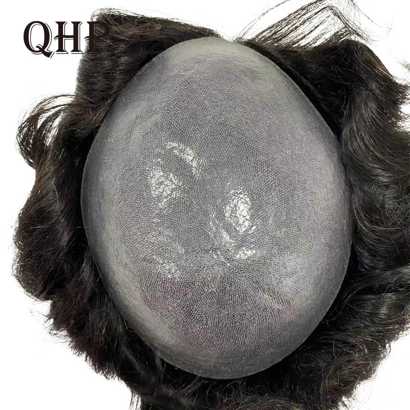 Для мужчин накладки из искусственных волос ручной работы парик человеческих системы замещения волос PU Прозрачная Тонкая кожа 0,08-0,1 мм индий...