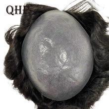 Peluca artesanal para hombres, tupé, sistemas de repuesto de cabello humano, PU, piel fina transparente, 0,08-0,1mm, cabello Remy Natural indio de 6 pulgadas