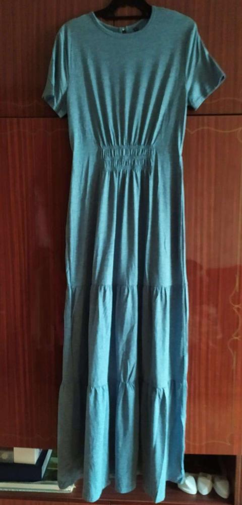 Spring Summer Solid Long Dress Women Casual O Neck High Waist Short Sleeve Dress 2020 New