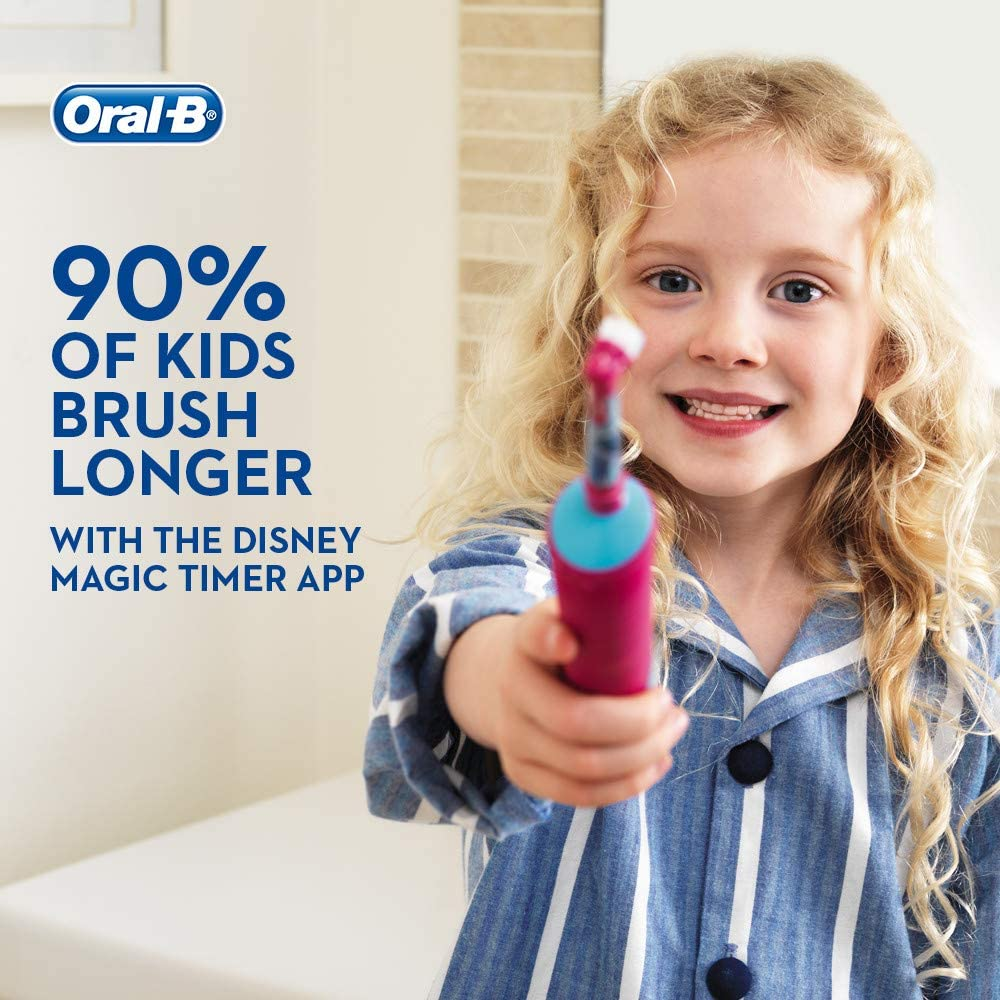 Oral-B For Kids Rechargeable Toothbrush D100 Princess Special Series Can Be Customized Temalı Decal, 8 day Charge Capacity image