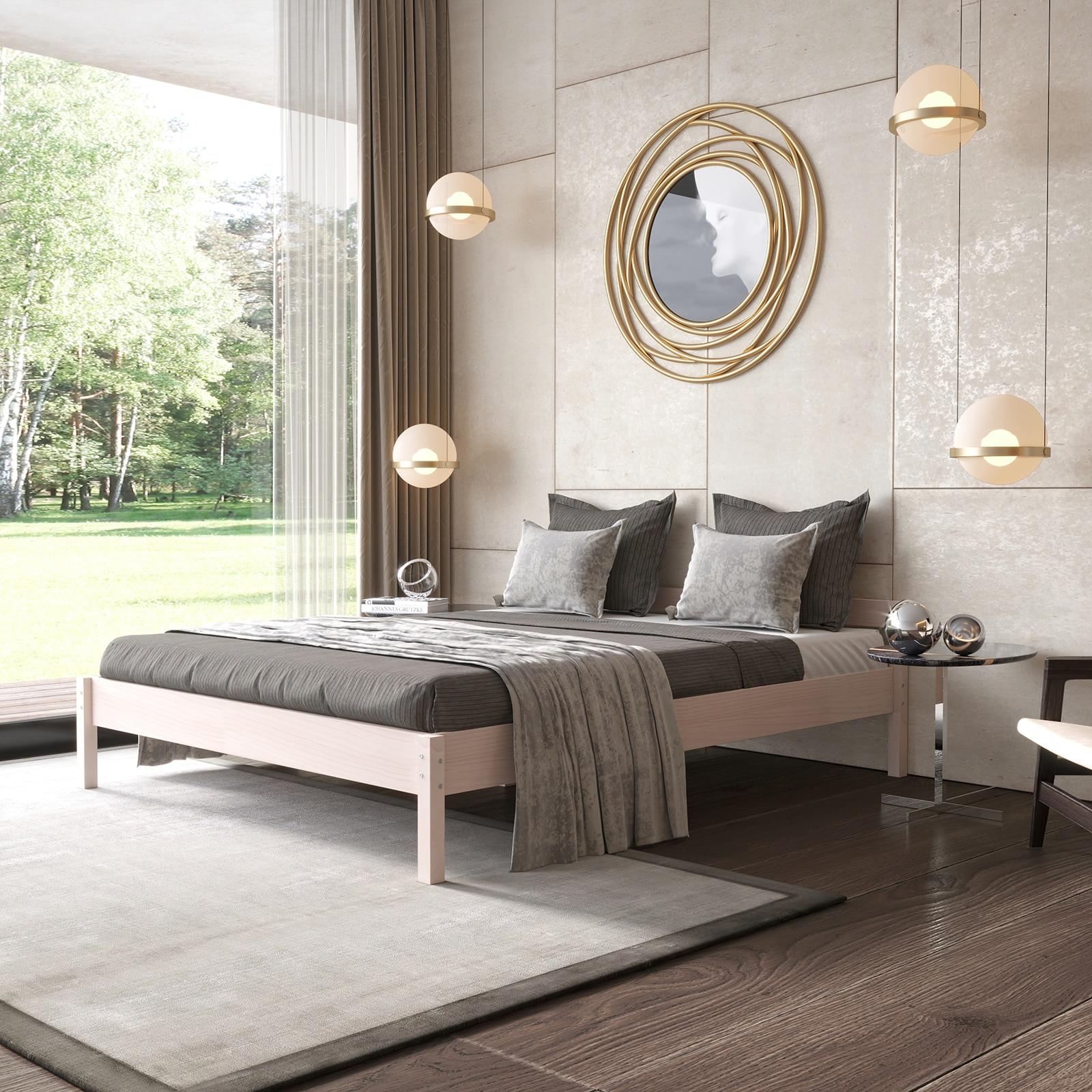 Двуспальная деревянная кровать 140х200 см из массива березы
