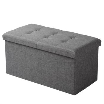 Functional Linen Storage Foot Stool Ottoman Bench Folding Chest Storage Cube Colorful Storage Box Upholstered Seat Removable Lid