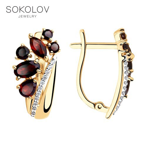 Sokolov drop earrings with stones with stones with stones with stones with stones with stones in gold with garnet and cubic zirconia fashion jewelry 585 women's male, long earrings