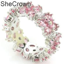 25x8mm SheCrown Fashion Jewelry Circle Pink Morganite Gift For Ladies Silver Rings