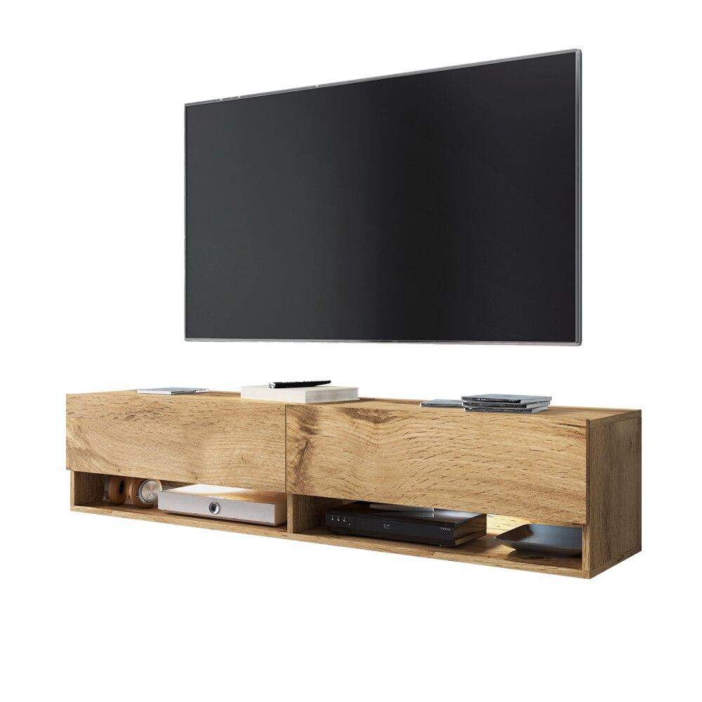 Selsey WANDER -  meuble TV moderne (140 cm/chêne wotan, avec LED) 3