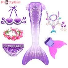 PrettyGirl New Arrival Girls Swimming Mermaid Tail Swimsuit Kids Mermaid Costume Cosplay Mermaid Swimwear Birthday Gift for Girl