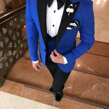 Blue Suit Costume Pants Tuxedos Blazer Vest Wedding Party Groomsme Men's Double-Breasted