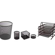 SERESSTORE 3A Metal Office Set 5 Black (Document Rack 3 Pieces + Trash Can + Pen Holder + Earnote Holder + Clip Holder)
