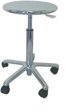 Stool WORK 17, Chrome, Gas, Seat Polished Steel