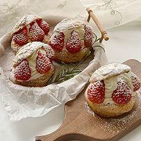 超可爱 零失败 一次就成功的草莓酥皮大泡芙的做法图解32
