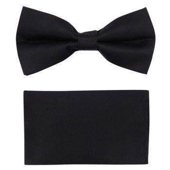 Men's bow tie, pocket square (black, microfiber) 56017