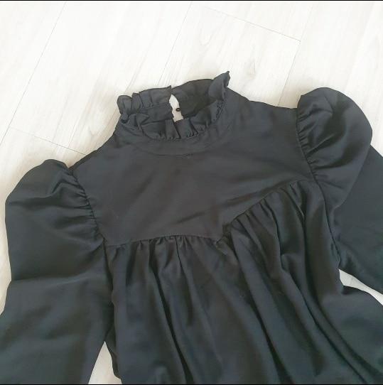 Hot 2019 autumn new fashion women's temperament commuter puff sleeve small high collar natural A word knee Chiffon dress reviews №10 342867