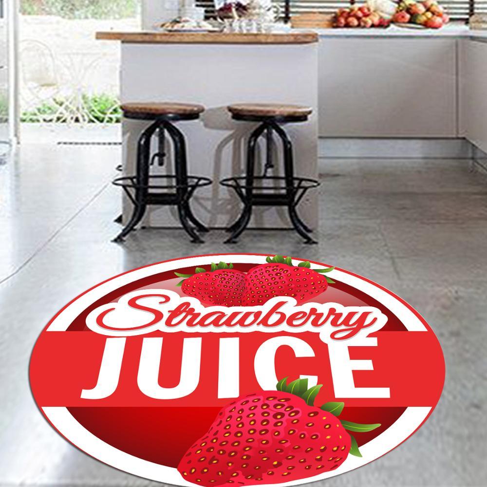 Ev ve Bahçe'ten Halı'de Başka bir kırmızı çilek suyu taze meyve 3d desen baskı Anti kayma geri yuvarlak mutfak halı alan kilim oturma odası için title=
