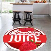 Mais vermelho suco de morango fruta fresca 3d padrão impressão anti deslizamento volta redonda tapetes cozinha área para salas estar|Tapete| |  -