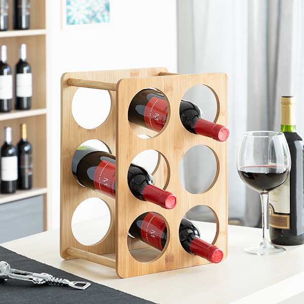 Bottle Rack Bamboo (6 Bottles)