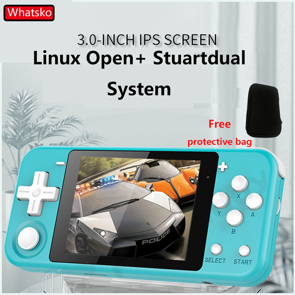 "Whatsko mini Q90 Linux open system Handheld Retro Game Console 3 ""IPS Screen 16GB Built-in 4000+ games Support PS1 Game 3D games"