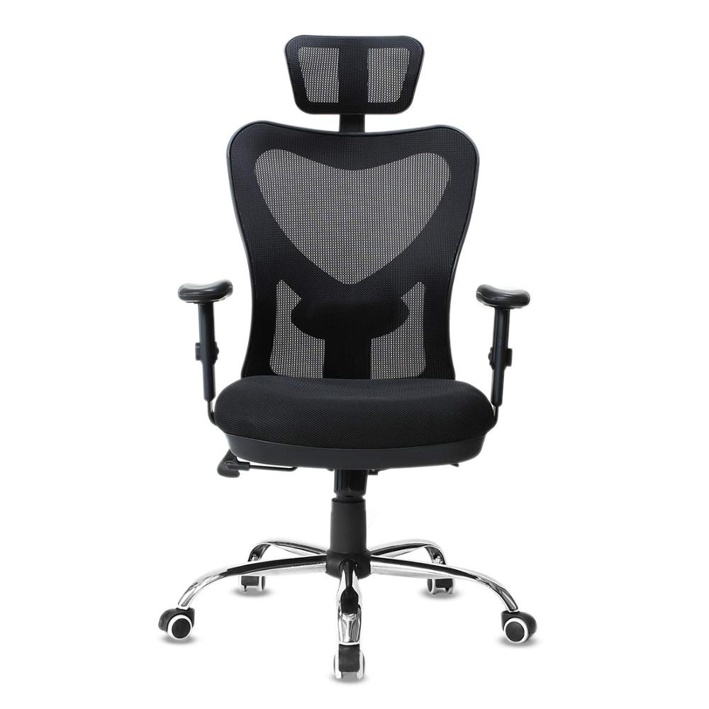 Ergonomic Adjustable Office Chair High Back Desk Chair Mesh Computer Chair With Lumbar Support And Thick Seat Cushion