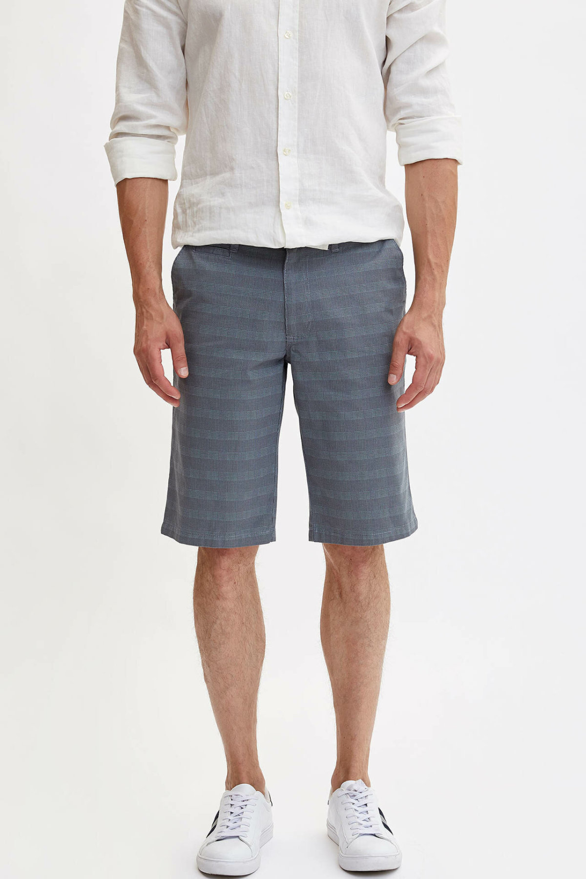 DeFacto Man Summer Casual Plaids Shorts Men Slim Fit Bermuda Shorts Male Mid-waist Short Bottoms-L6060AZ19SM