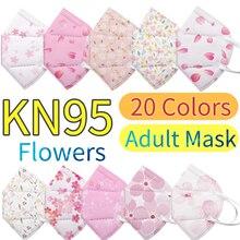 5pc 20 cores adulto flores kn95 máscara facial kn95 máscaras respiratórias fpp2mask mascarilla fpp2 homólogo mascarillas ninos