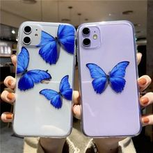 귀여운 블루 나비 아이폰 11 프로 최대 Xs XR X 6 6s7 8 플러스 케이스 소프트 tpu 다시 커버 케이스에 대 한 명확한 전화 케이스