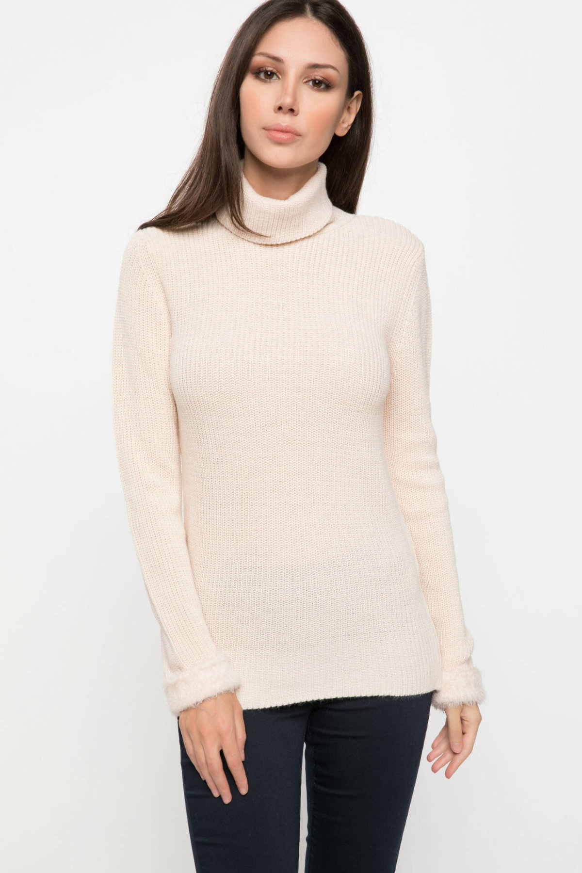 DeFacto Autumn Pure Color Double Layer Knitted Shirt Warm Long Sleeve White Grey Pullover Sweatshirts-J0535AZ18WN