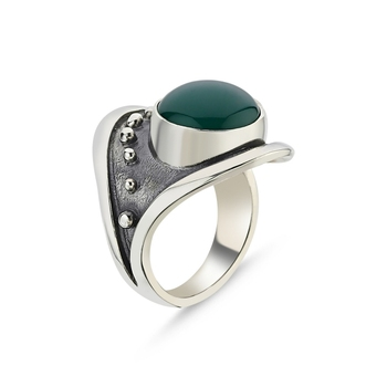 Silver 925 Sterling Green Agate Stone Handwork Ring