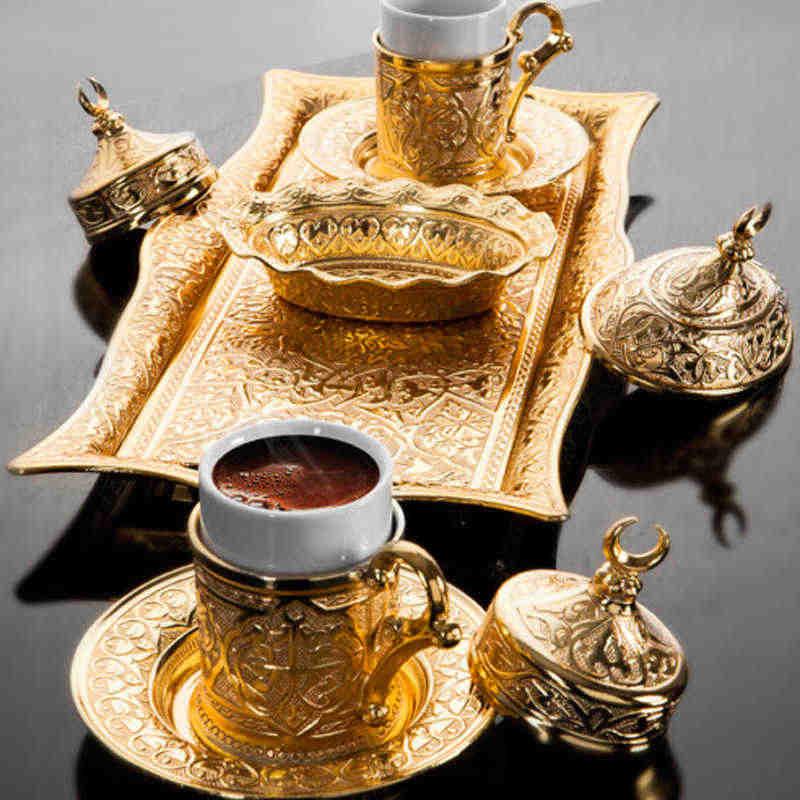 Set 2 - (9 pezzi) Tazze da caffè in rame con tè turco Set di tazze da caffè in arabo anatolico Set da tè in stile ottomano Set da caffè turco Set da caffè turco Set da caffè Set da regalo