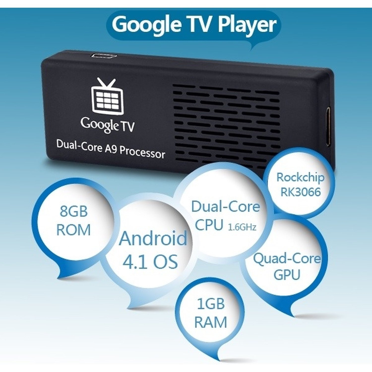 Mini PC MK808 Dual-Core Android 4.1.1 Googling TV Player w/1 GB RAM/8 GB ROM /Wi-Fi/TF/HDMI