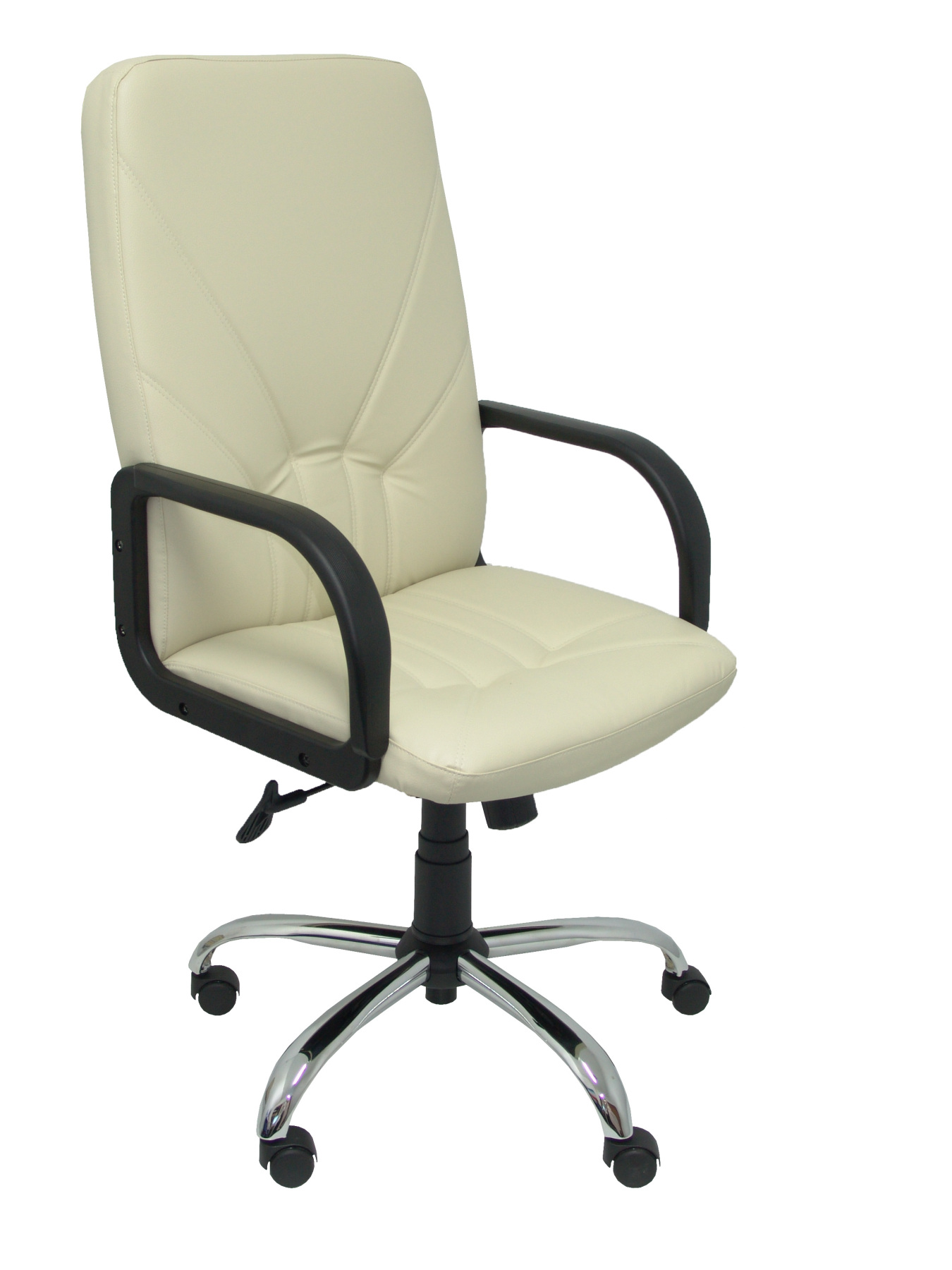 Armchair Ergonomic Steering With Tilting House Mechanism And Dimmable In High Altitude Upholstered In Similpiel PIQU Cream Color