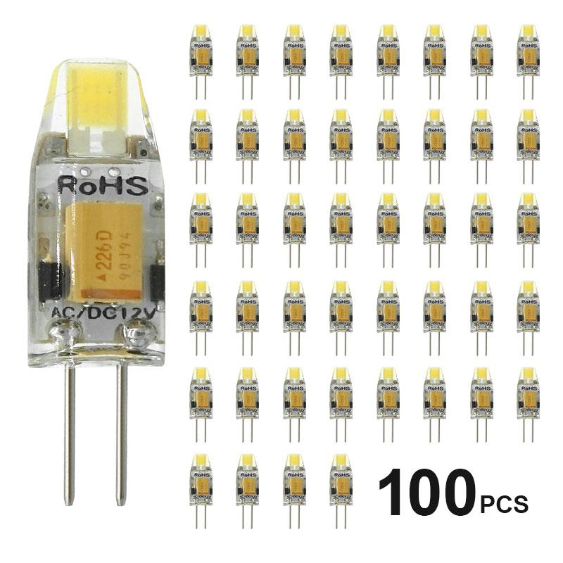 100 Pcs/Lot AC/DC 12V G4 COB Led lampe 3W Dimmen 360 Strahl Winkel Kronleuchter lampen Ersetzen Halogen Lichter