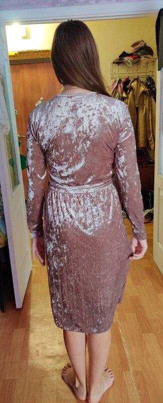 Susi&Amp;Rita Vintage Long Sleeve Velvet Dress Women Bodycon Belted Midi Dress Spring Pleated Party Dresses Vestidos Robe Femme photo review