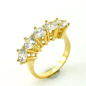 Swarovski modelo 6 mm banhado a ouro prata dibs anel