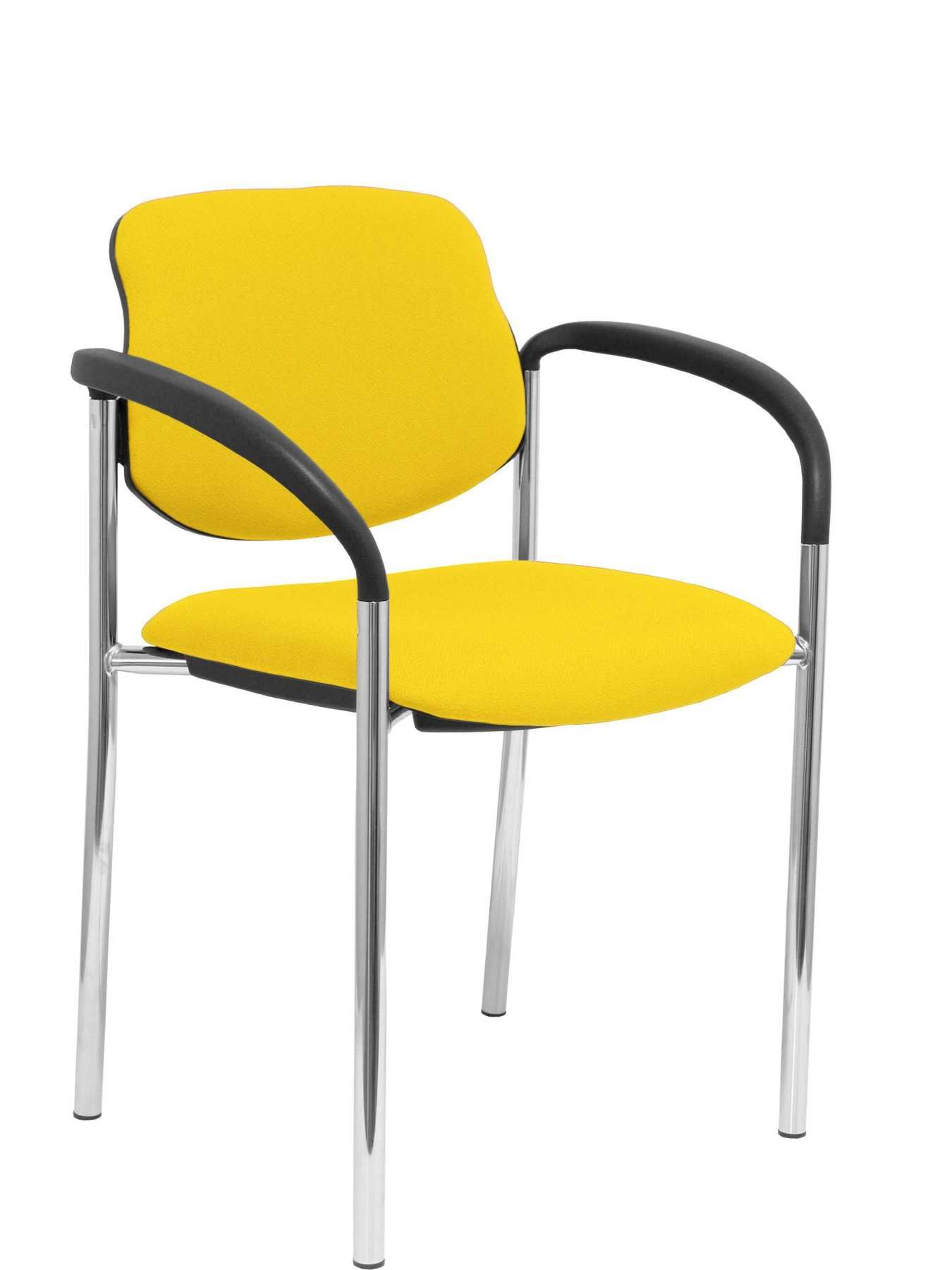 Confident Chair 4 leg and estructrua chrome arms Seat and back upholstered in fabric BALI yellow|  - title=