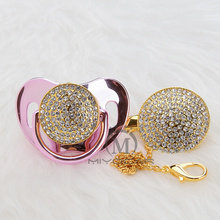 MIYOCAR bling gold silver luxurious Rhineston pacifier and clip holder set BPA free sgs pass safe AW