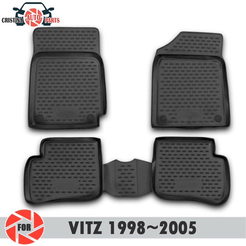 Alfombrillas de suelo para Toyota Vitz 1998 ~ 2005 alfombras antideslizantes de poliuretano protección de suciedad accesorios de diseño de coches interiores