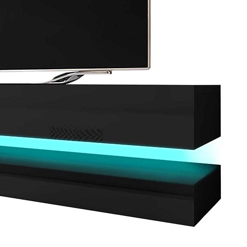 HYLIA Meuble TV suspendu (140 cm, noir mat / noir brillant avec LED) 4