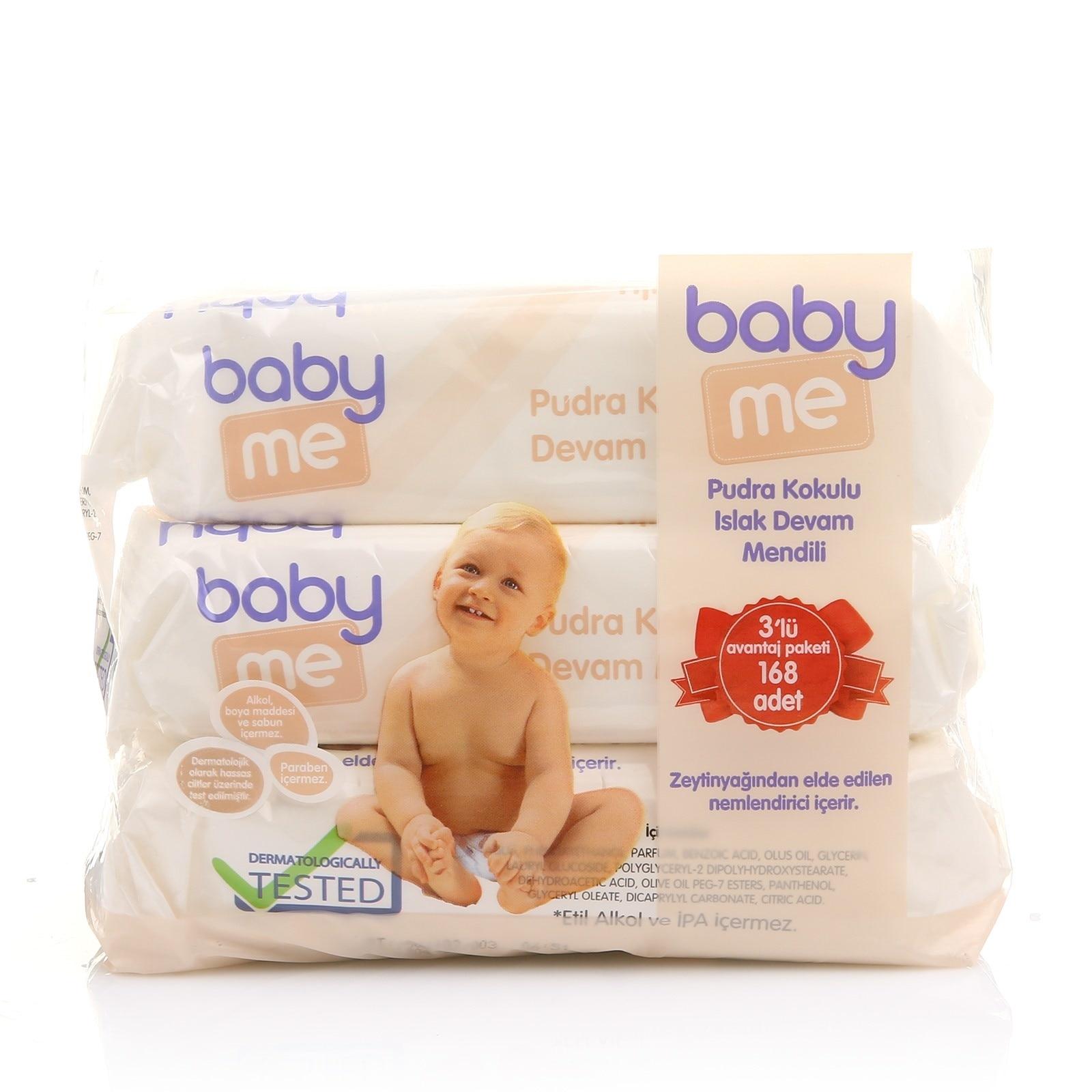Ebebek Baby Me Baby Powder Fragrant Wet Wipes 3x56 Pcs