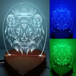 N-046 Lion crown-3D USB led Eco-friendly lamp night light, hand, table night light, home decor,
