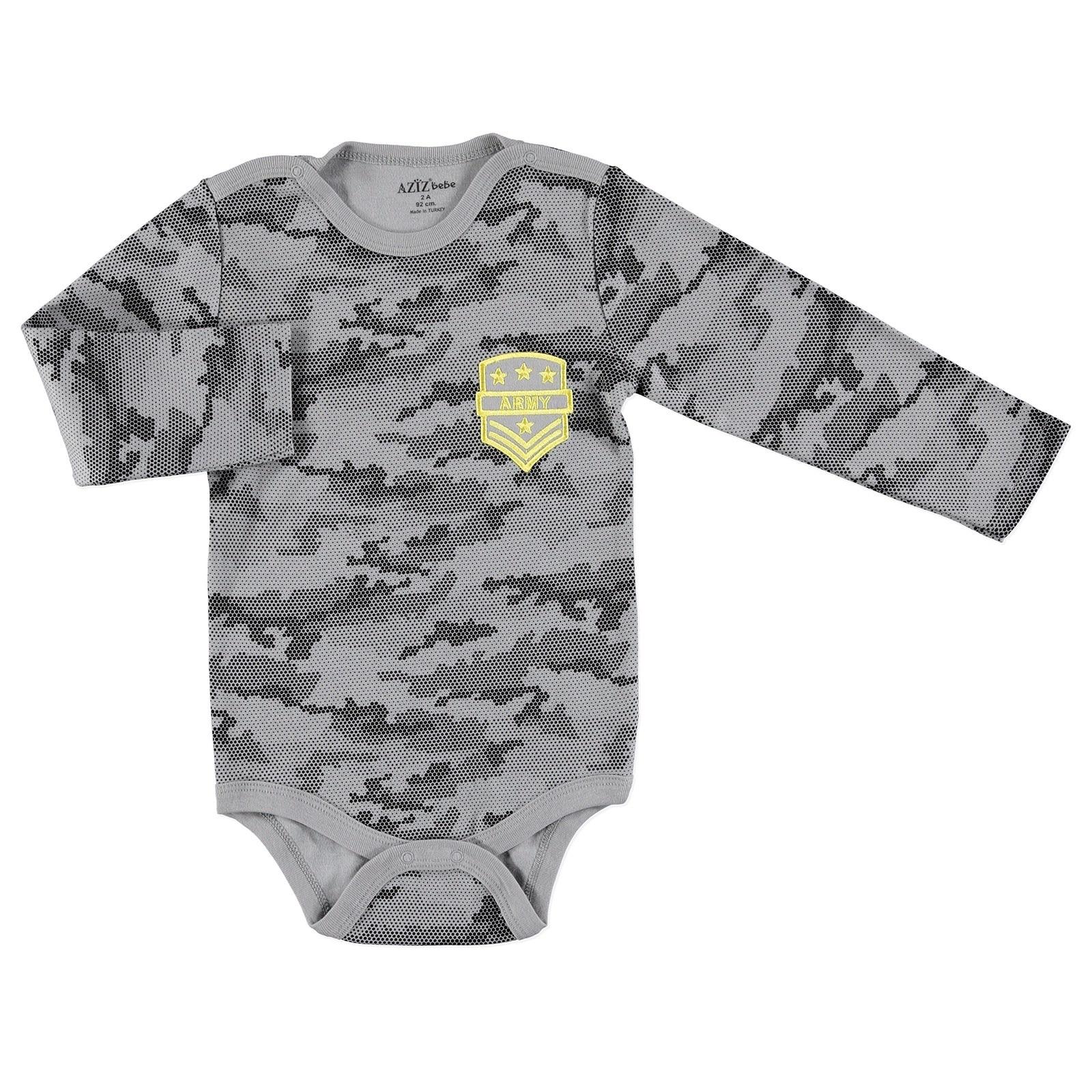 Ebebek Aziz Bebe Camouflage Baby Snaps Collar Long Sleeve Bodysuit