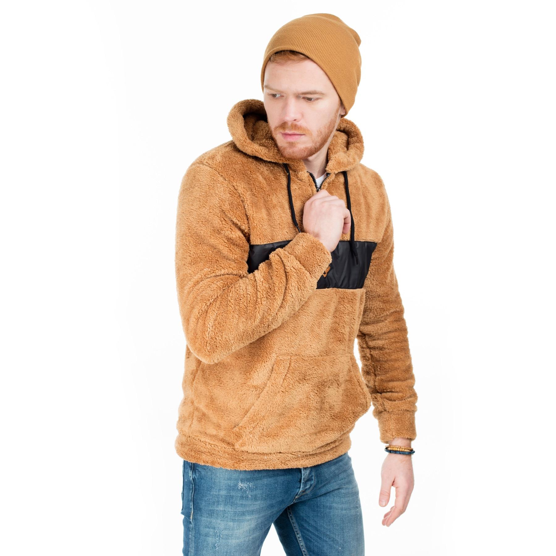 Buratti Мужская повседневная толстовка на молнии Plush Kangaroo Pocket Hoodie Hoodies Men Sweat Long Sleeve Male Sweat Толстовка