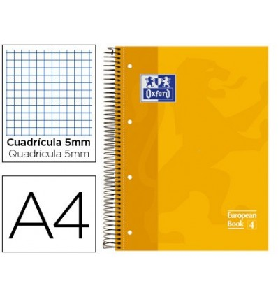 NOTEPAD SPIRAL OXFORD TOP EXTRADURA MICROPERFORATED DIN A4 80 SHEETS PICTURES 5 MM-YELLOW 5 Pcs