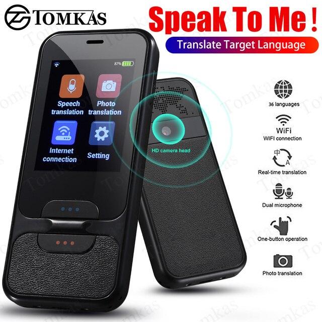 TOMKAS נייד חכם קול מתורגמן 2.4 אינץ מגע מסך WiFi עבור Travelling תמונה תרגום רב שפה מתרגמים