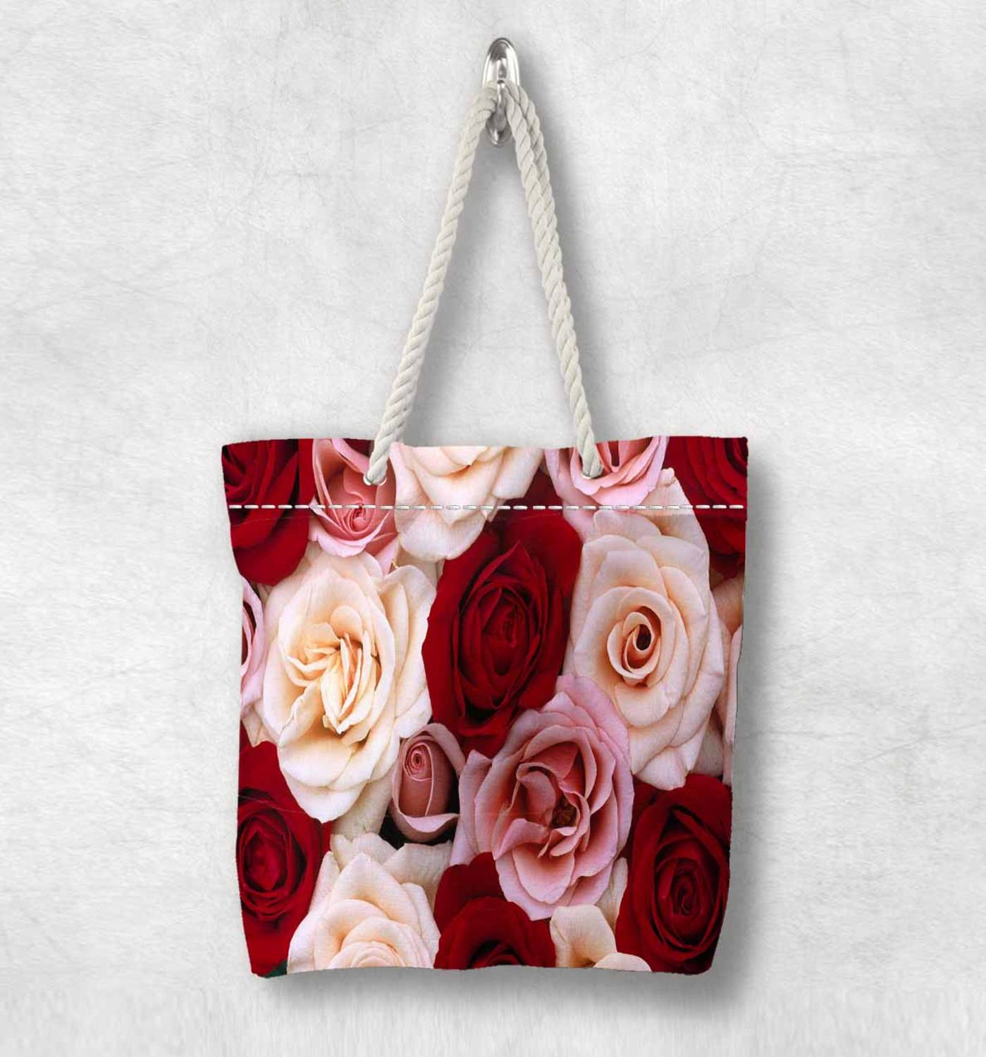 Else Pink Red White Roses Flowers Floral New Fashion White Rope Handle Canvas Bag Cotton Canvas Zippered Tote Bag Shoulder Bag